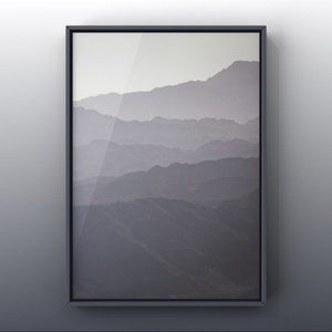 Natural Ash Grey Misty mountains range art prints